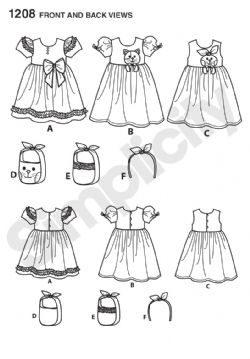 1208 Simplicity Pattern: Child's Dresses, Bag and Headband